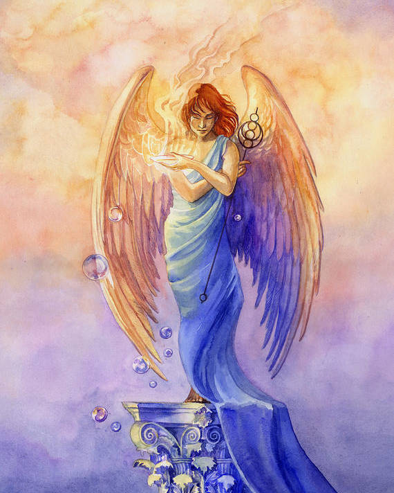 Angel Poster featuring the painting Angel Of Truth And Illusion by Janet Chui