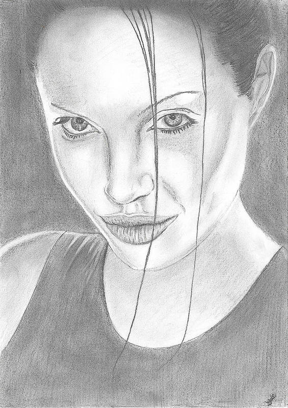 Angelina Poster featuring the drawing Angelina Jolie by Branislav Djuric
