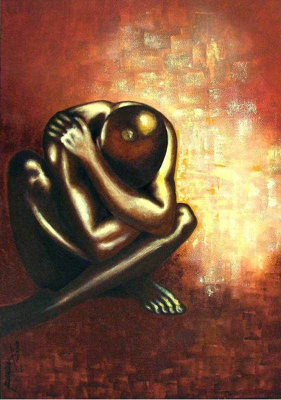 Figurative Poster featuring the painting Angst Of Existence by Padmakar Kappagantula