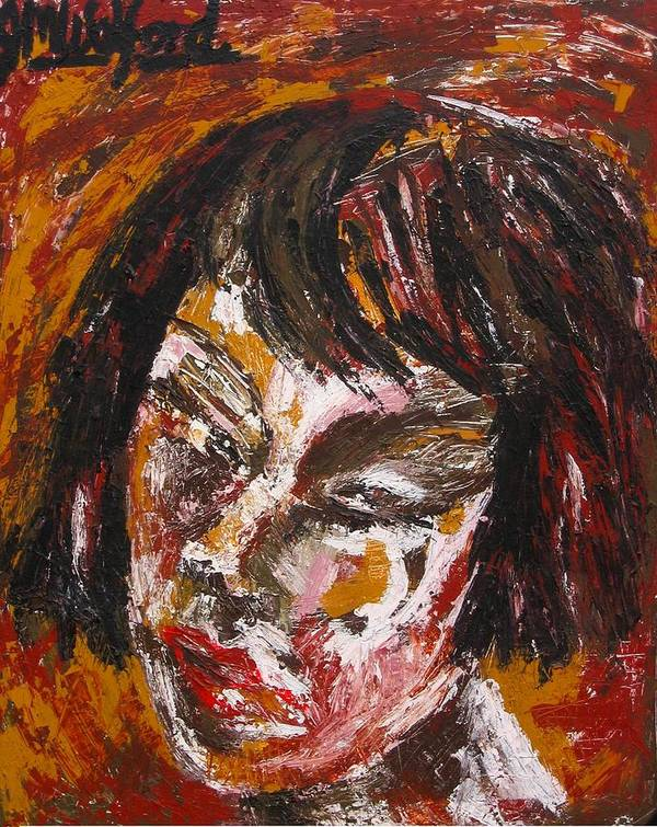 Portrait Poster featuring the painting Anguish by Jenni Walford