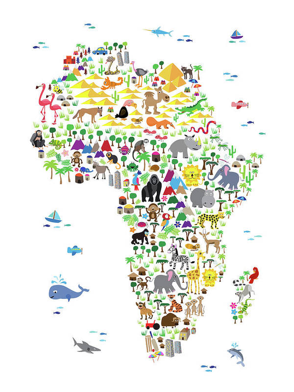 Animal Map Of Africa For Children And Kids Poster by Michael Tompsett