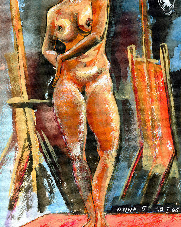 Nudes Poster featuring the painting Anna Nude by Ion vincent DAnu