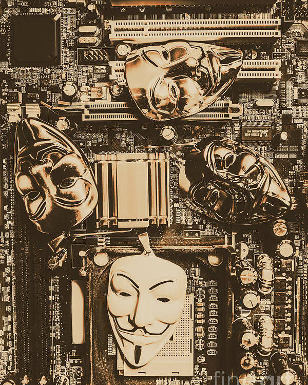 Anonymous Poster featuring the photograph Anonymous Cyber Masks by Jorgo Photography - Wall Art Gallery