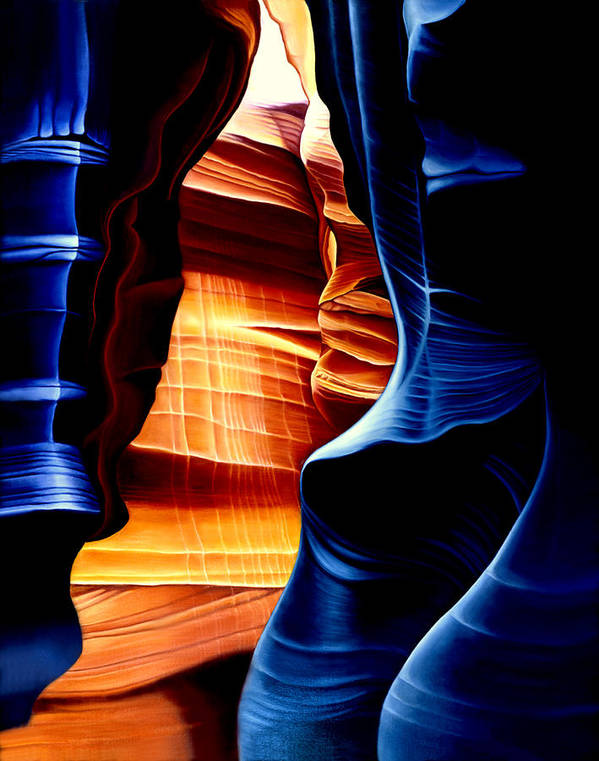 Landscape Poster featuring the painting Antelope Canyon by Anni Adkins