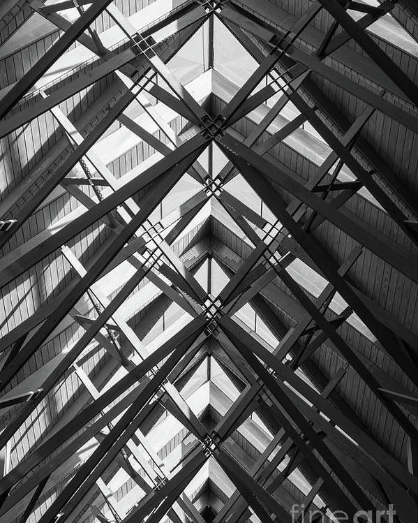 Abstract Poster featuring the photograph Anthony Skylights Grayscale by Jennifer White