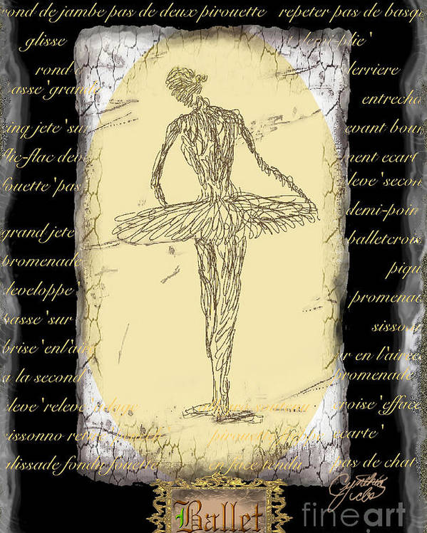 Ballet Poster featuring the digital art Antique Ballet by Cynthia Sorensen