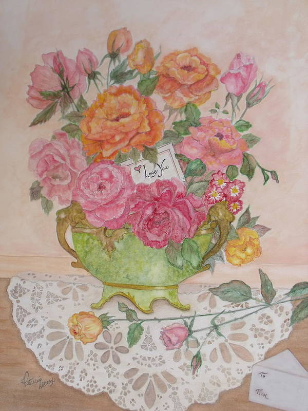 Roses Poster featuring the painting Antique Bowl With Roses by Patti Lennox