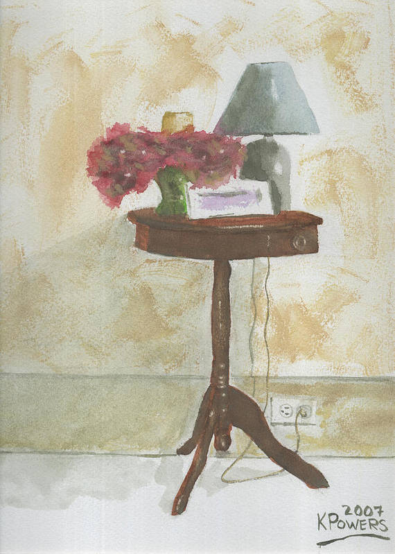 Table Poster featuring the painting Antique Table by Ken Powers