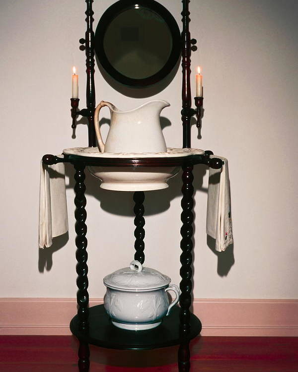 Lavabo Poster featuring the photograph Antique Wash Stand by Sally Weigand