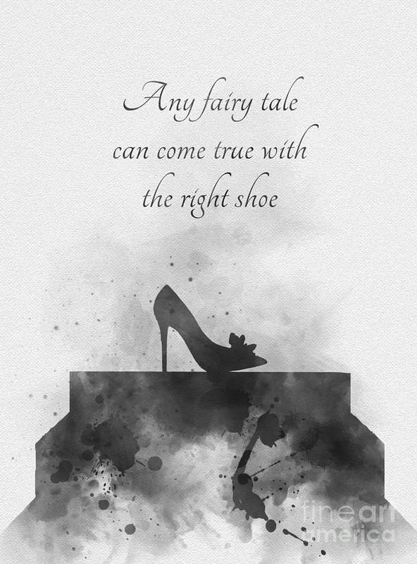 Cinderella Poster featuring the mixed media Any Fairy Tale Can Come True Black And White by My Inspiration