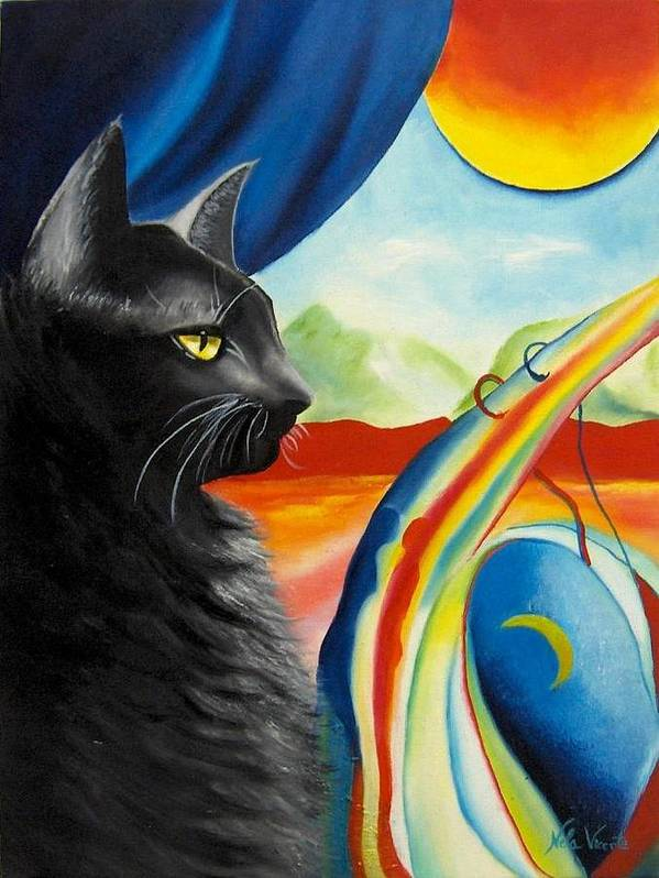 Surreal Cat Poster featuring the painting Any Time by Nela Vicente