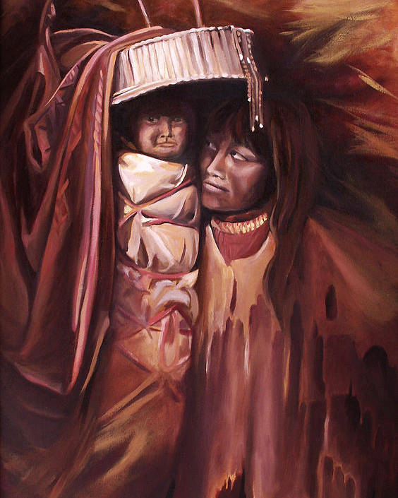 Native American Poster featuring the painting Apache Girl And Papoose by Nancy Griswold