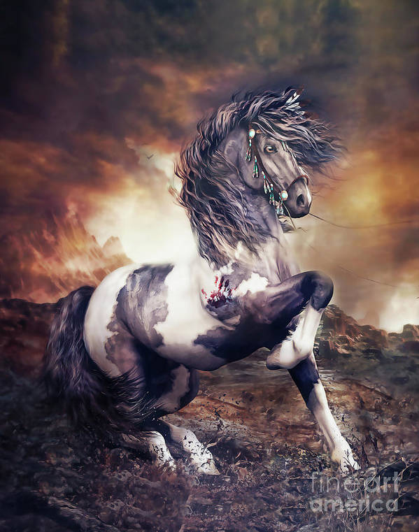 Apache War Horse Poster featuring the digital art Apache War Horse by Shanina Conway