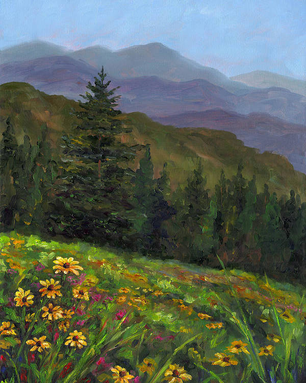 Wildflowers On The Mountain Hillside Of Blue Ridge Mountains Of Western North Carolina Near Ashevill Poster featuring the painting Appalachian Color by Jeff Pittman