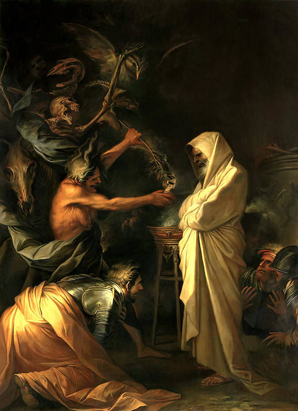Salvator Rosa Poster featuring the painting Apparition Of The Spirit Of Samuel To Saul by Salvator Rosa