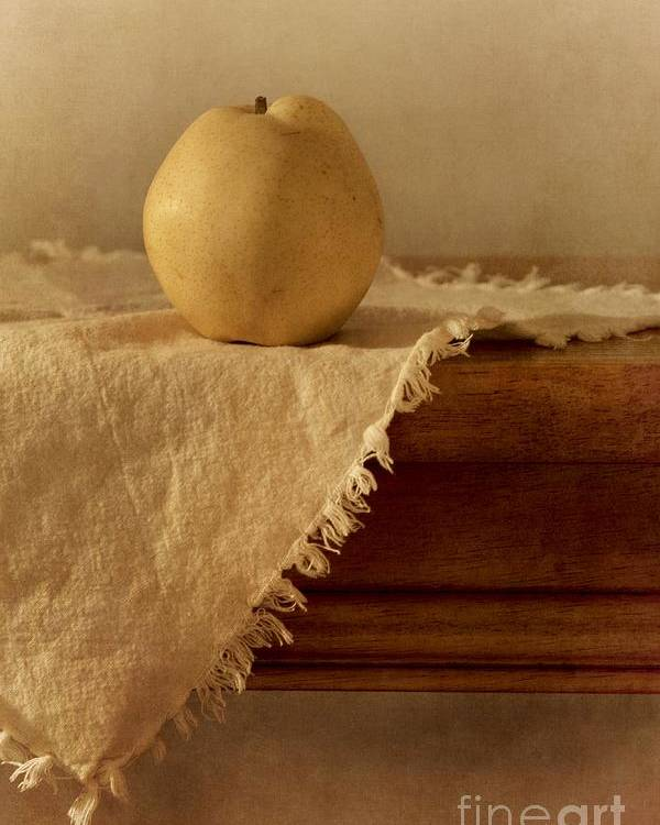 Dining Room Poster featuring the photograph Apple Pear On A Table by Priska Wettstein