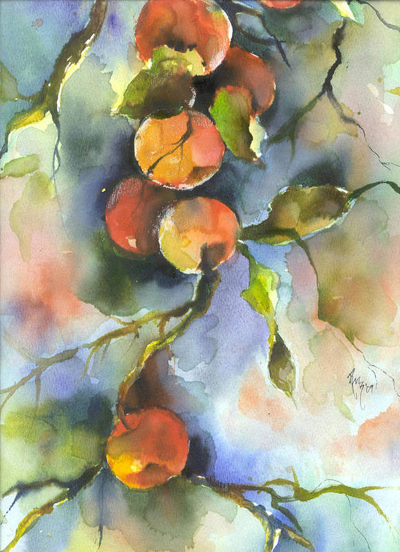 Apples Poster featuring the painting Apples by Robin Miller-Bookhout
