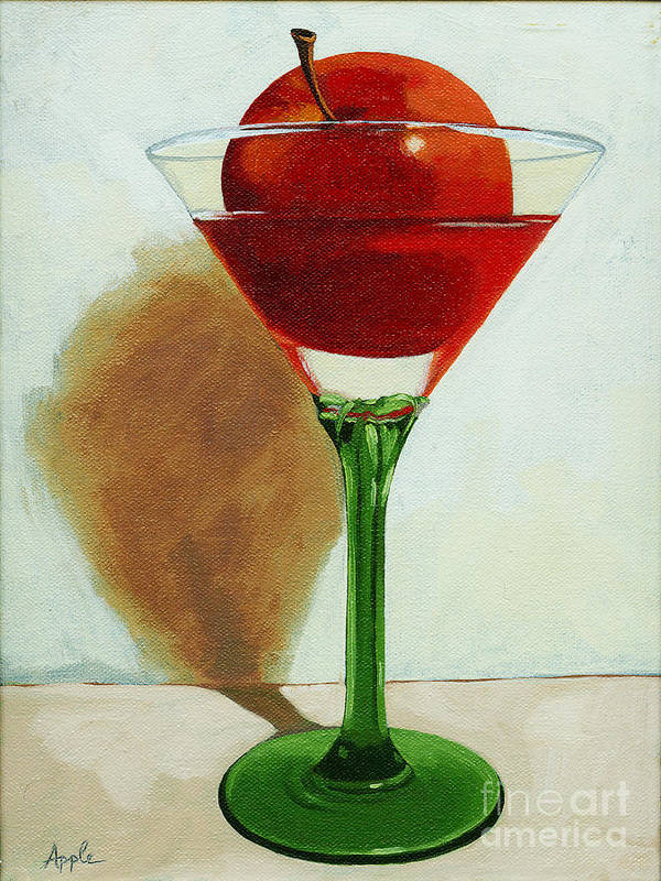 Still Life Poster featuring the painting APPLETINI - apple still life painting by Linda Apple