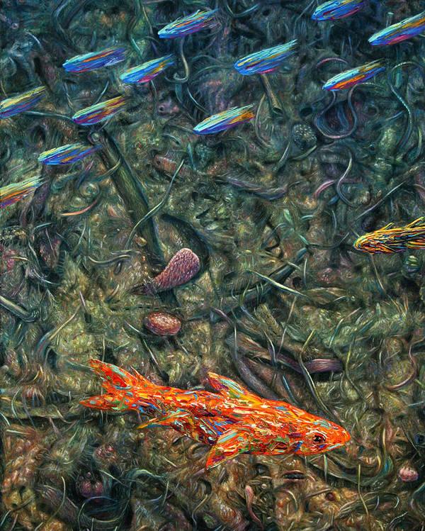 Aquarium Poster featuring the painting Aquarium 2 by James W Johnson