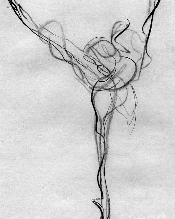 Gesture Drawing Ballet Dancer Arabesque Dance Pointe Shoes Pencil Graphite Energy Movement Music Poster featuring the painting Arabesque Bright by Ann Radley
