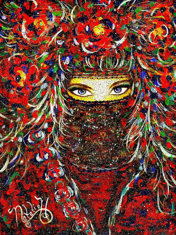 Woman Poster featuring the painting Arabian Eyes by Natalie Holland