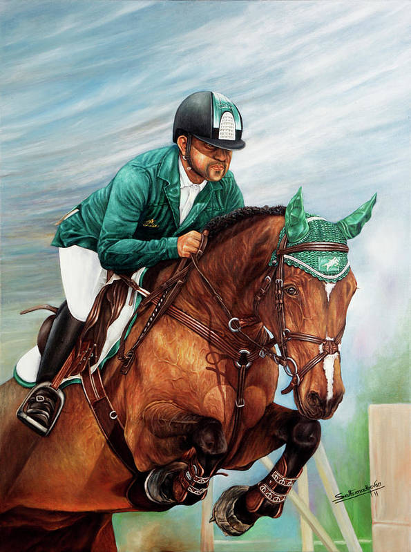 Horse Poster featuring the painting Arabian Wind by Sethu Madhavan