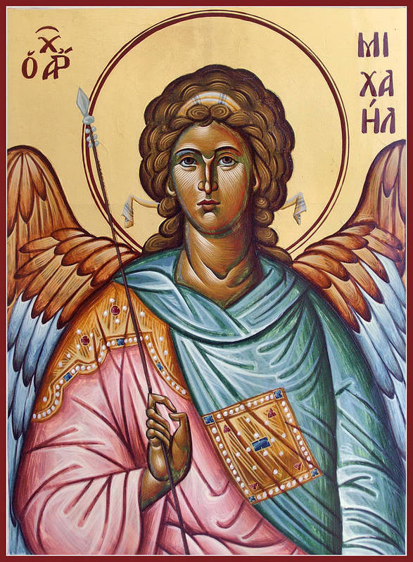 Icon Poster featuring the painting Archangel Michael by Julia Bridget Hayes