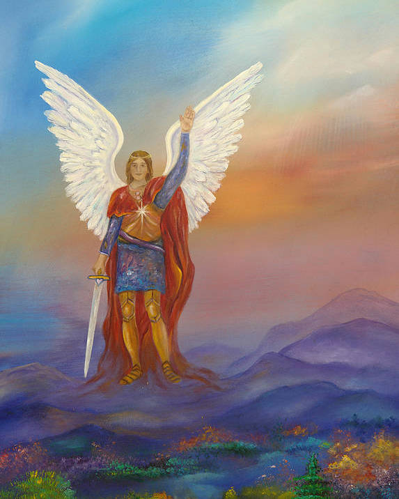 Angel Poster featuring the painting Archangel Michael by Sundara Fawn