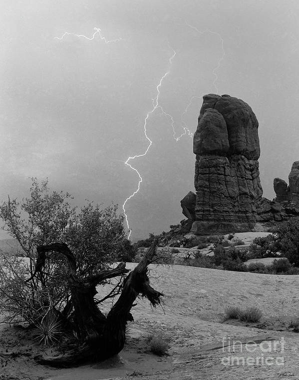 Lightning Poster featuring the photograph Arches National Park Utah-signed by J L Woody Wooden