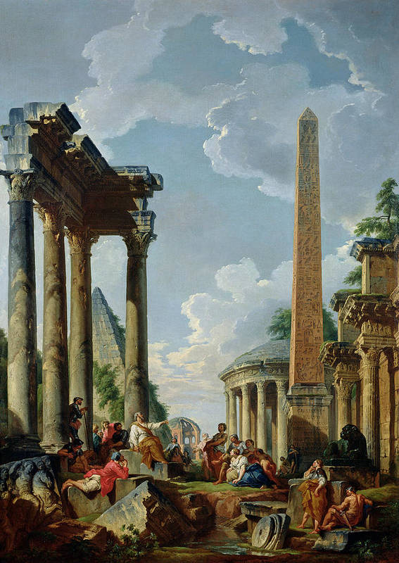 Architectural Poster featuring the painting Architectural Capriccio With A Preacher In The Ruins by Giovanni Paolo Pannini or Panini