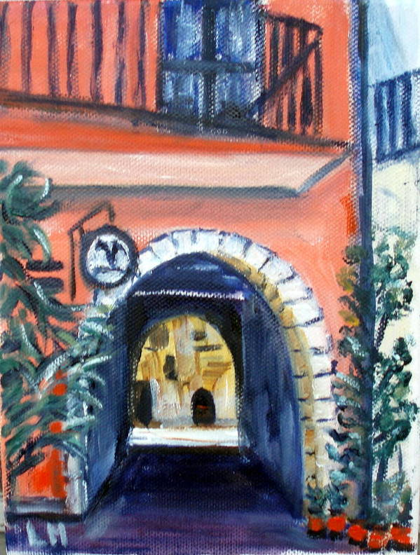 Building Poster featuring the painting Archway by Lia Marsman
