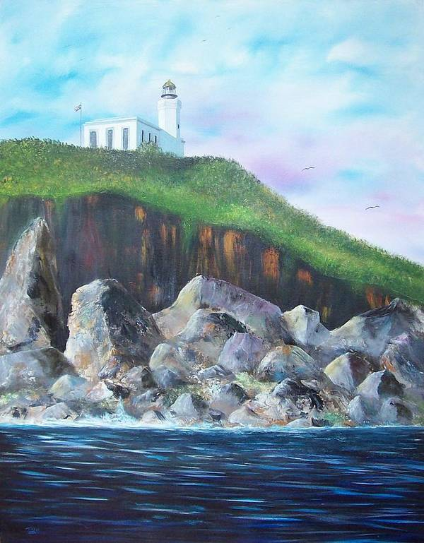 Arecibo Lighthouse Poster featuring the painting Arecibo Lighthouse by Tony Rodriguez