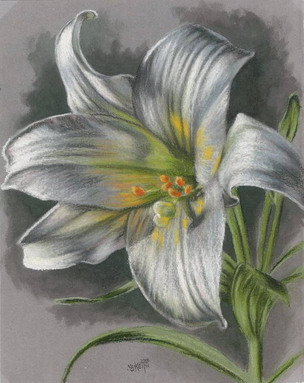 Easter Lily Poster featuring the mixed media Arise by Barbara Keith