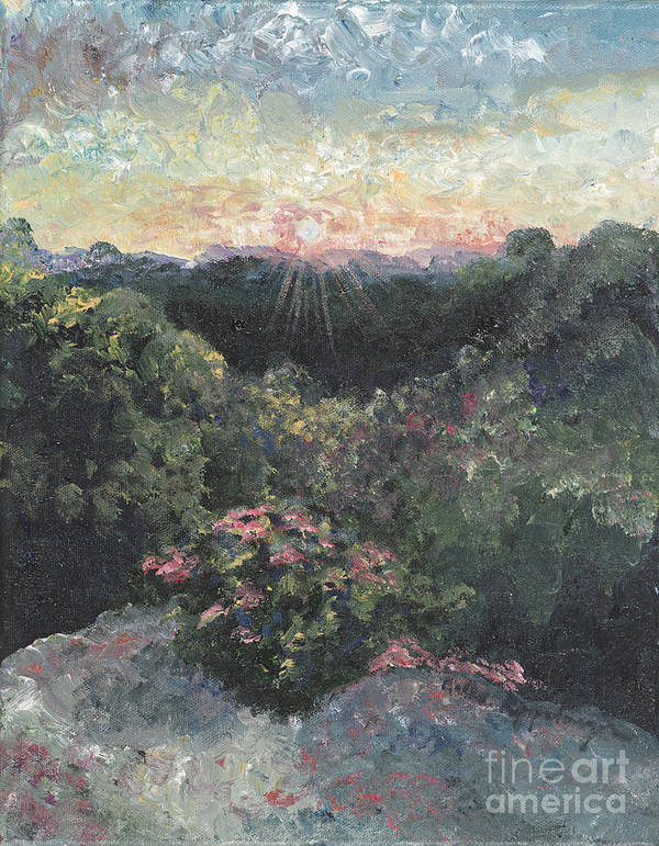 Landscape Poster featuring the painting Arkansas Mountain Sunset by Nadine Rippelmeyer