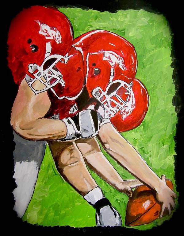 Arkansas Painting Poster featuring the painting Arkansas Razorbacks Football by Carol Blackhurst