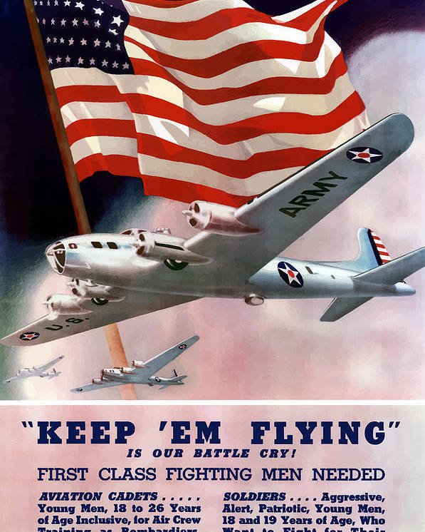 Army Poster featuring the painting Army Air Corps Recruiting Poster by War Is Hell Store