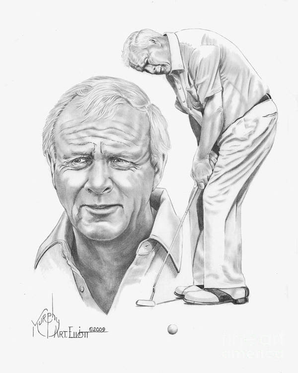 Arnold Palmer Poster featuring the drawing Arnold Palmer by Murphy Elliott