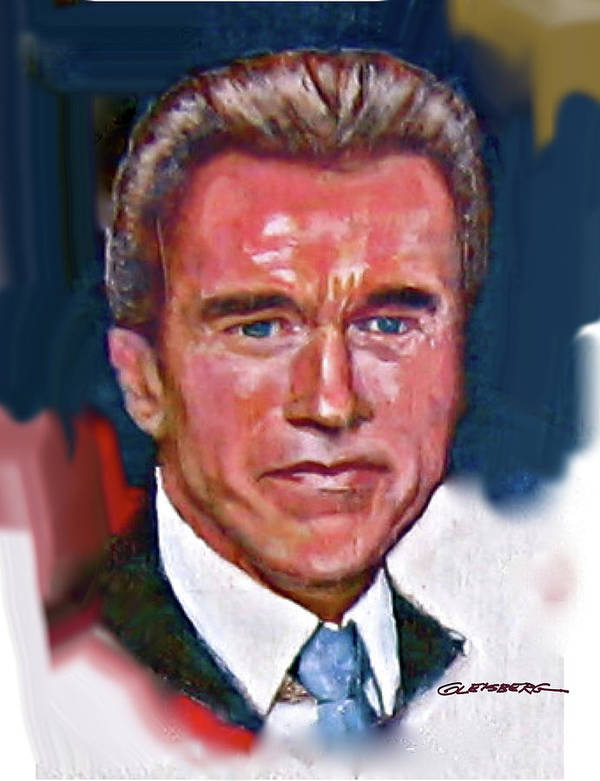 Arnold Schwarzenegge Poster featuring the painting Arnold Schwarzenegger by Dean Gleisberg