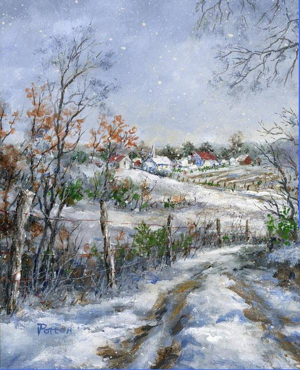 Snowfall Poster featuring the painting Around The Bend Sold by Virginia Potter