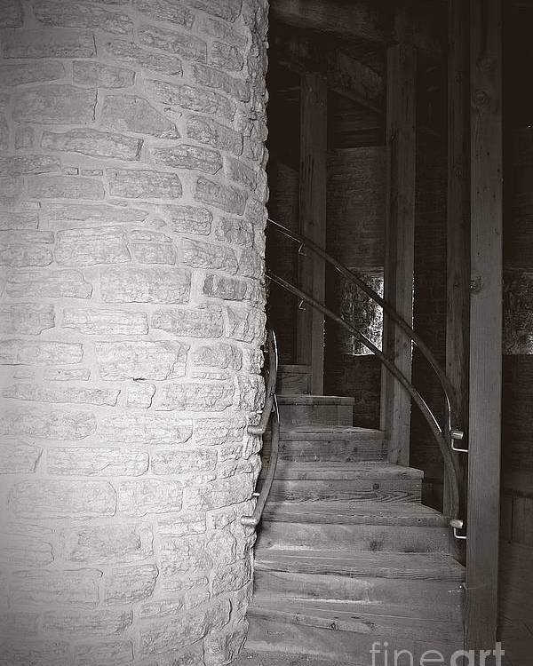 Staircase Poster featuring the photograph Around The Corner by Giliane Mansfeldt