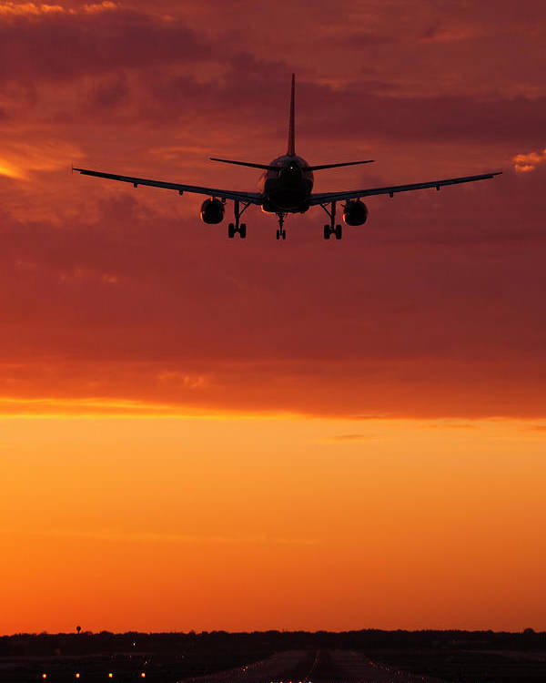 Plane Poster featuring the photograph Arriving At Day's End by Andrew Soundarajan