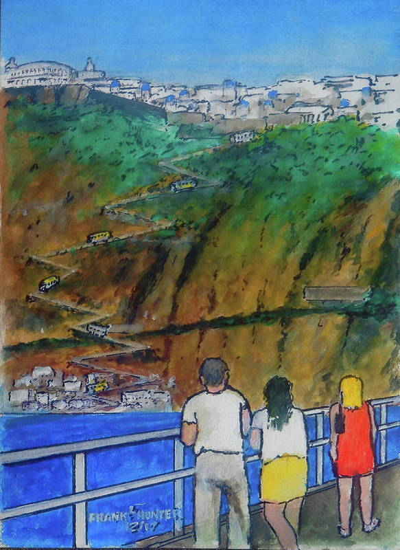 Santorini Thiri Cliff Cruise Arrival Poster featuring the painting Arriving At Thira Santorini Greece by Frank Hunter