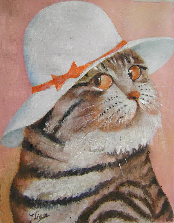 Cats Poster featuring the painting Arrogant Cat by Lian Zhen