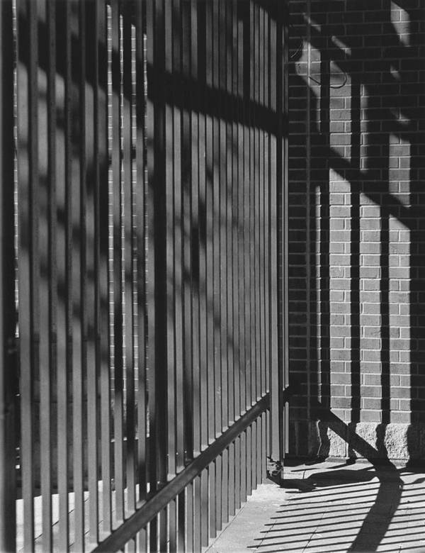 Light And Shadow Poster featuring the photograph Art And Design Center Security Gate by Jim Furrer