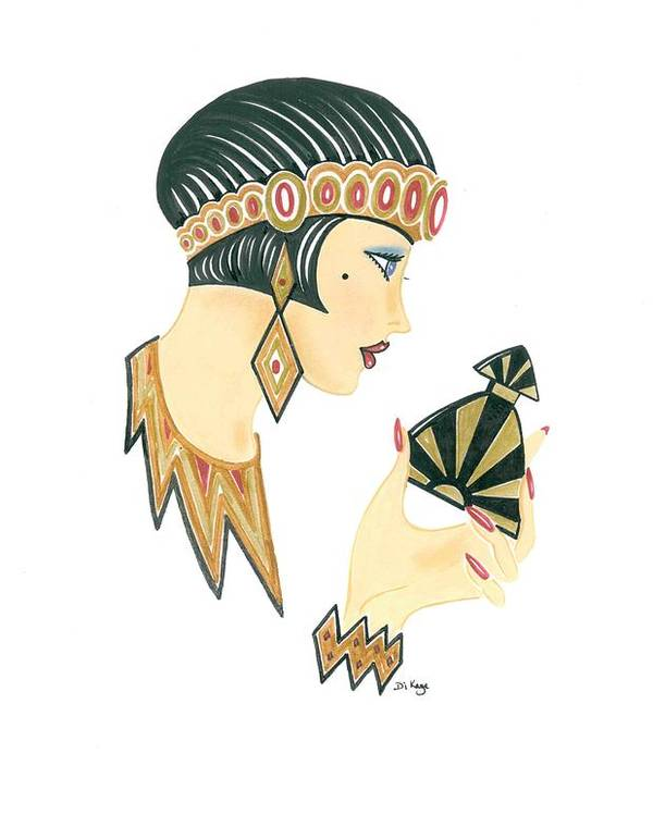 Art Deco Lady Jasmine Poster