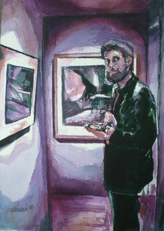Gallery Poster featuring the painting Art Gallery Visitor by Aleksandra Buha