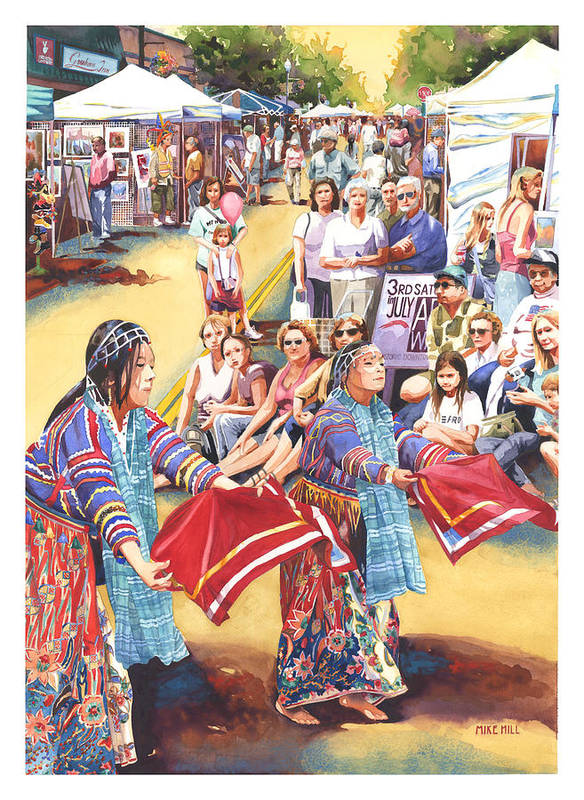 Dancer Watercolor Art Walk Show Street Asian Chinese China Tents Realism  Poster featuring the painting Art Walk by Mike Hill