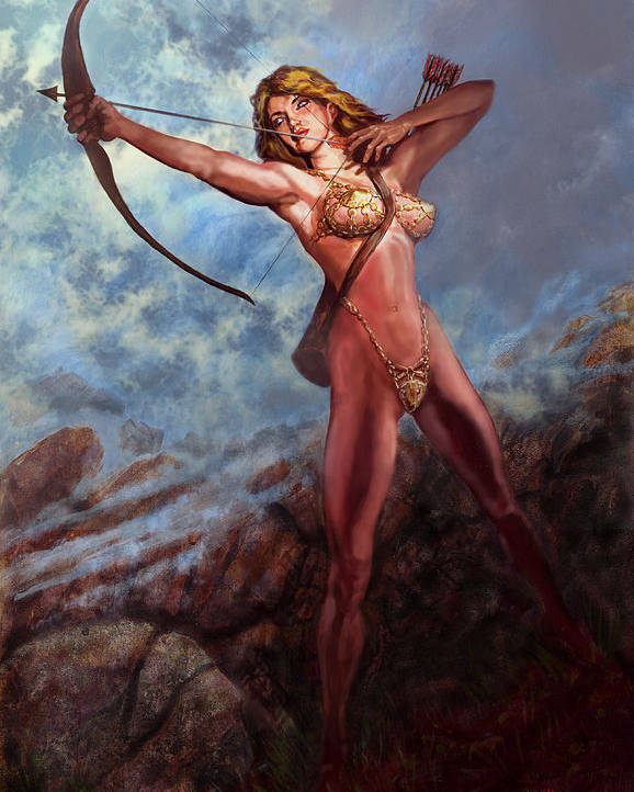 Traditional Digital Acrylic Fantasy Myth Poster featuring the mixed media Artemis Diana by Will Brown
