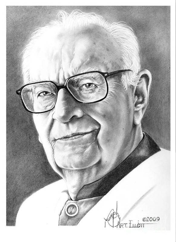 Portrait Poster featuring the drawing Arthur C. Clarke by Murphy Elliott