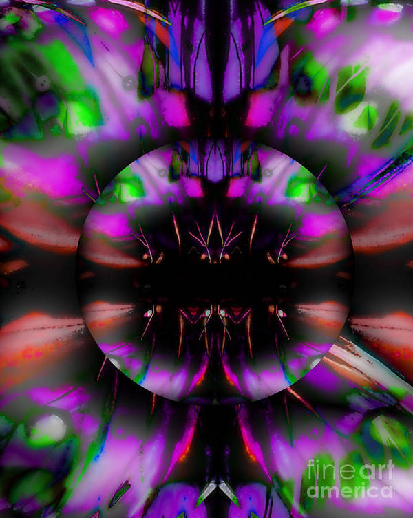 Digital Art Abstract Purple Bright Colors And Black. All Sizes And Prints Bright Bold Colors. Visit My Digital Art Abstract Gallery Poster featuring the digital art Artistry Abbey by Gayle Price Thomas